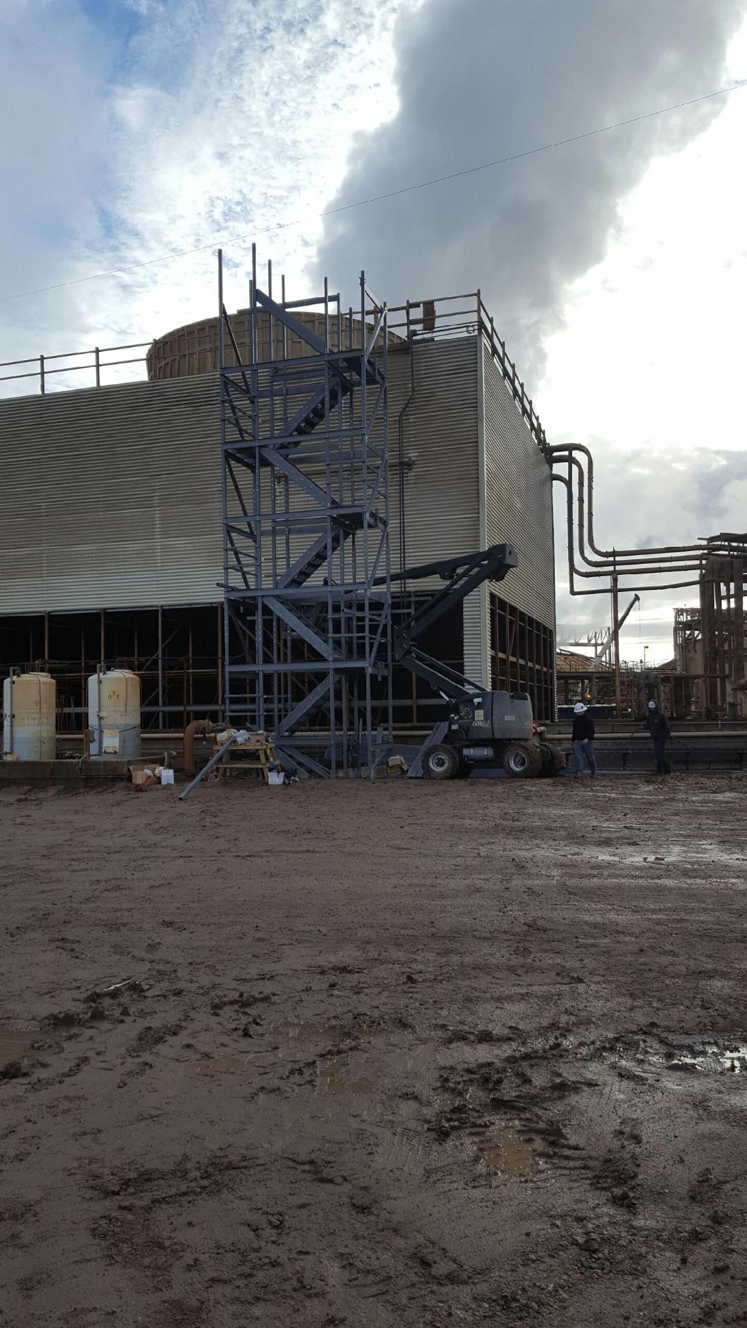 New stairway at power plant for cooling tower
